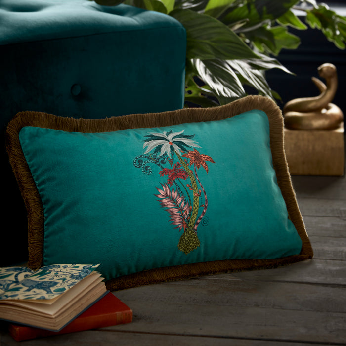 Emma Shipley Designer 'Jungle Palms' Cushion | Teal Blue