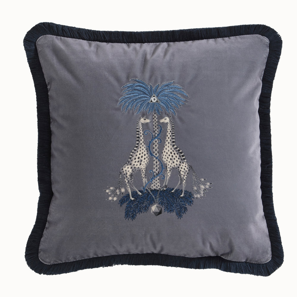 Emma Shipley Designer 'Kruger' Giraffe Animal Design Cushion | Grey & Blue - Your 4 Walls