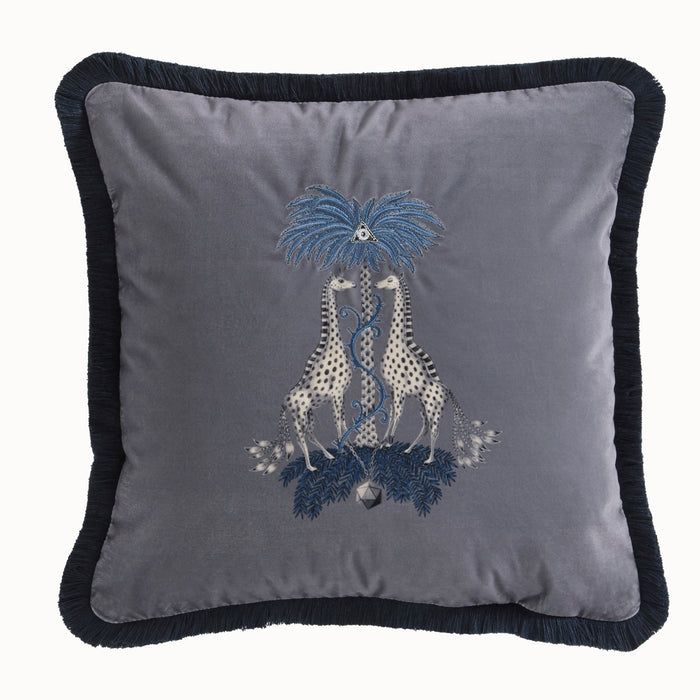 Emma Shipley Designer 'Kruger' Giraffe Animal Design Cushion | Grey & Blue