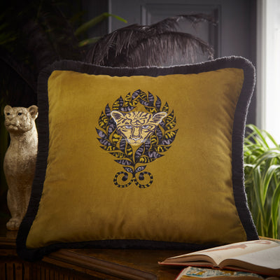 Emma Shipley Designer 'Amazon' Animal Jaguar Cushion | Gold/Ochre & Dark Grey - Your 4 Walls
