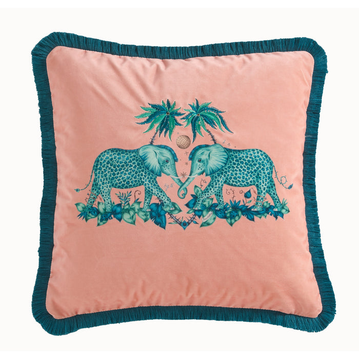 Emma Shipley Designer 'Zambezi' Animal Elephant Cushion | Peach / Pink