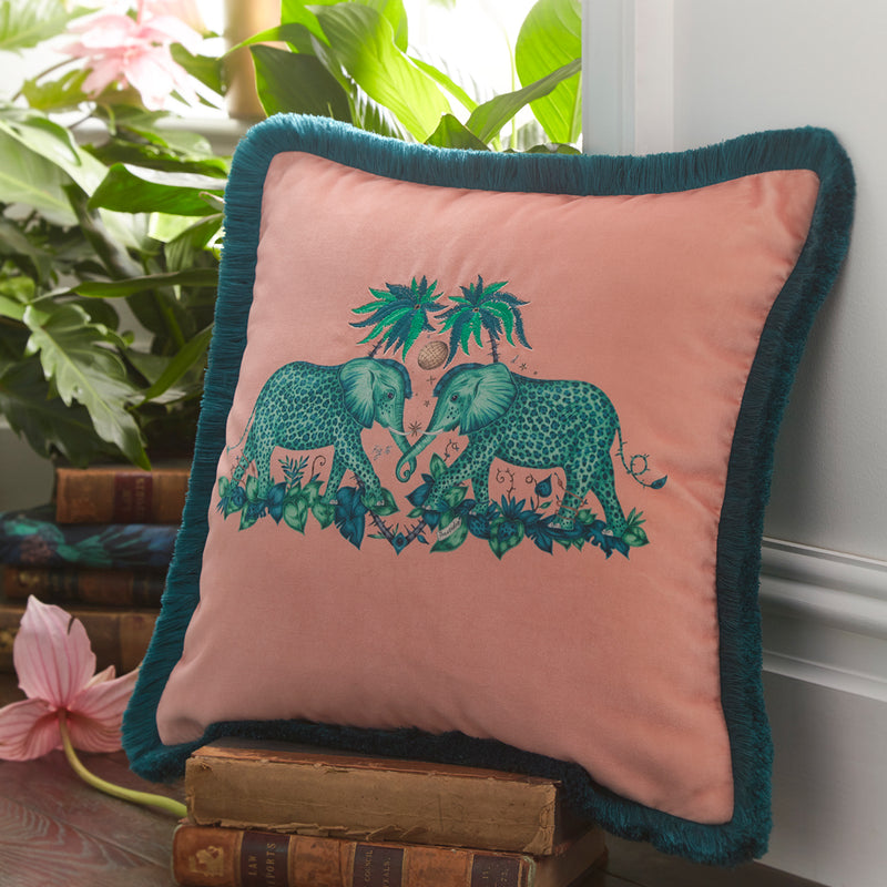 Emma Shipley Designer 'Zambezi' Animal Elephant Cushion | Peach / Pink - Your 4 Walls