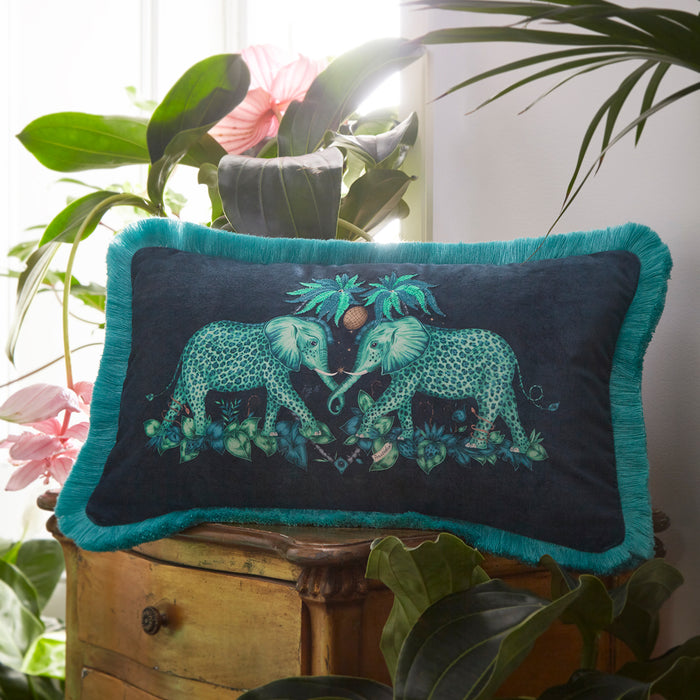Emma Shipley Designer 'Zambezi' Elephant Animal Cushion | Blue & Teal