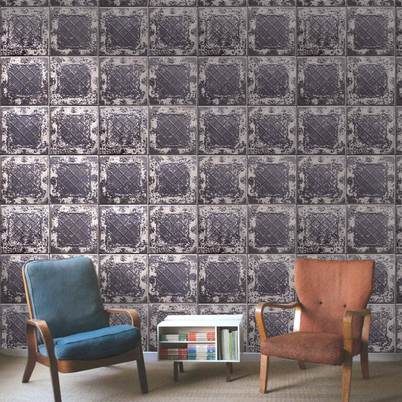 Elizabeth St Tin Tile Effect Wallpaper | Charcoal Black & Cream tones