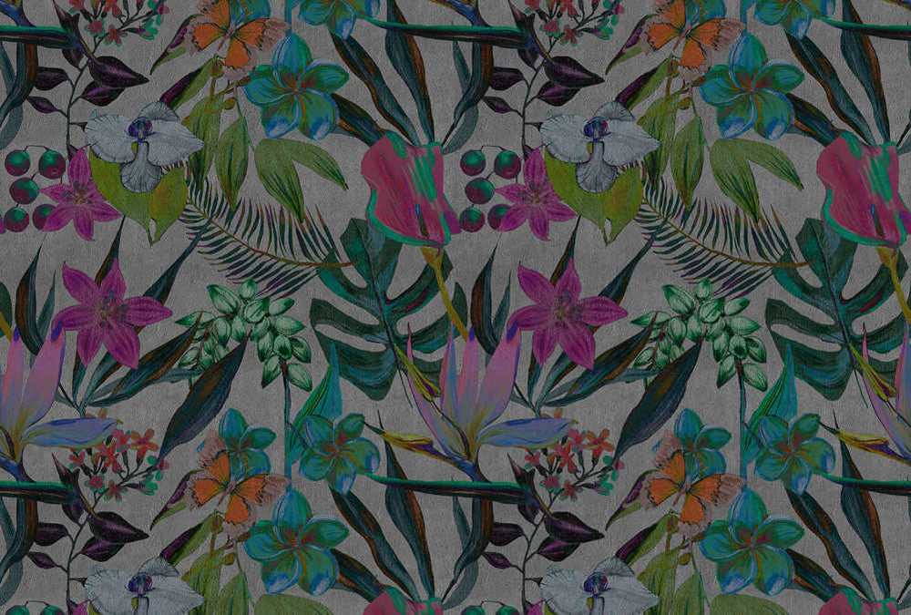 Exotic Night Floral & Palm Leaf Wallpaper Mural in Grey, Pink, Green & Turquoise - Your 4 Walls
