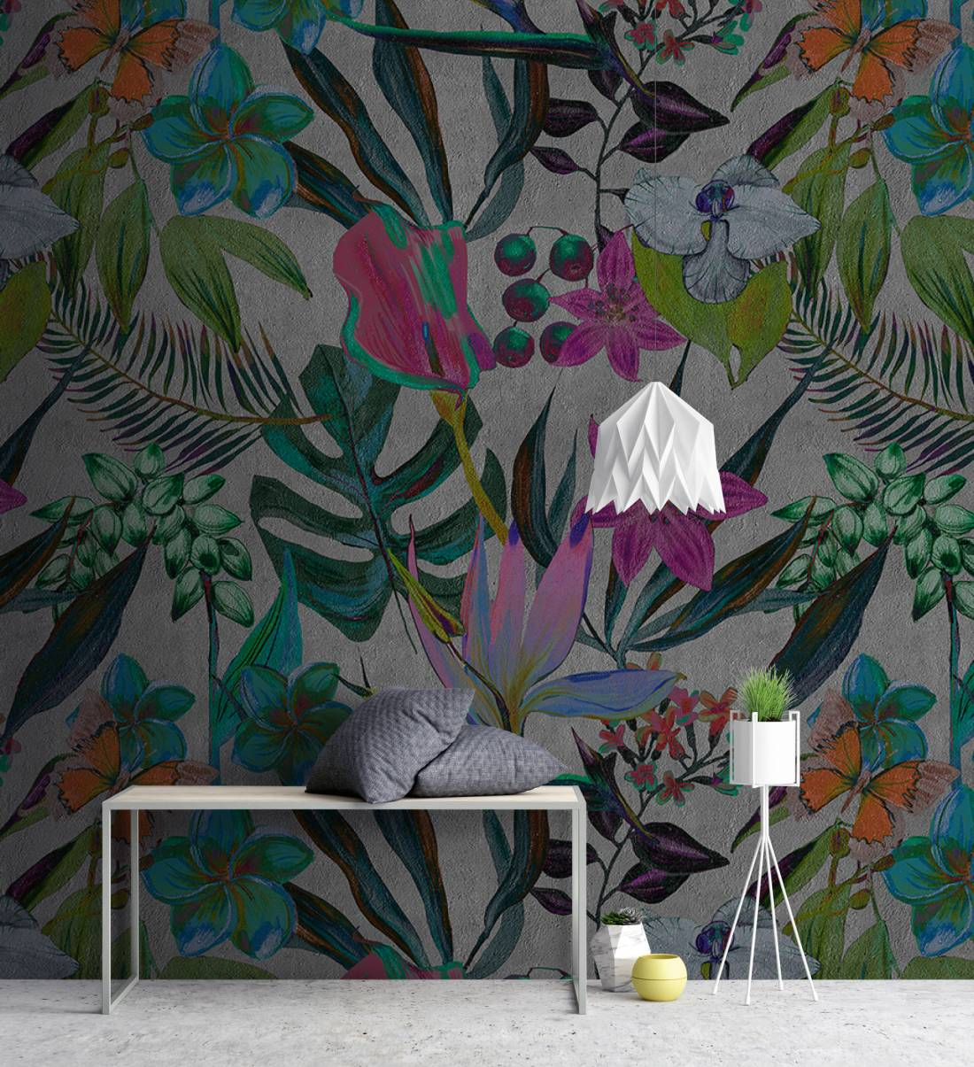Exotic Night Floral & Palm Leaf Wallpaper Mural in Grey, Pink, Green & Turquoise