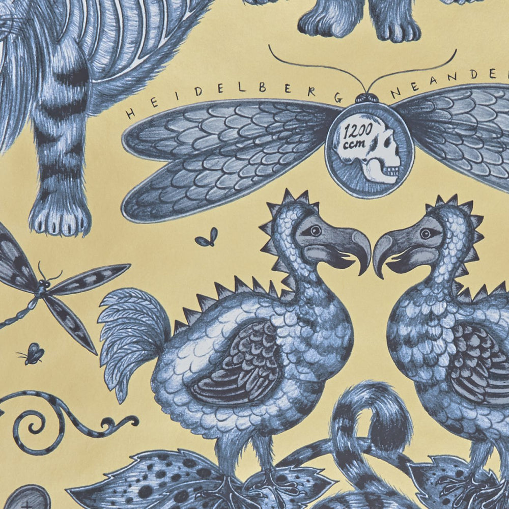 Extinct wallpaper by Designer Emma J Shipley Animalia | Blue & Gold - Your 4 Walls