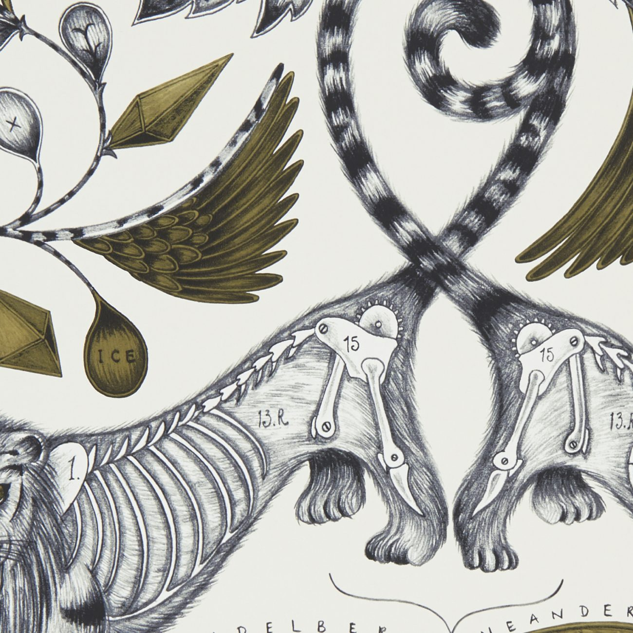 Extinct wallpaper by Designer Emma J Shipley Animalia | White & Gold
