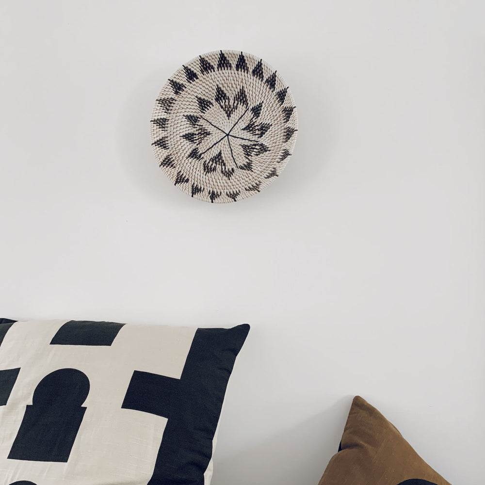 Lombok Boho Wall Decoration Plate / Bowl in Natural, White and Black - Your 4 Walls