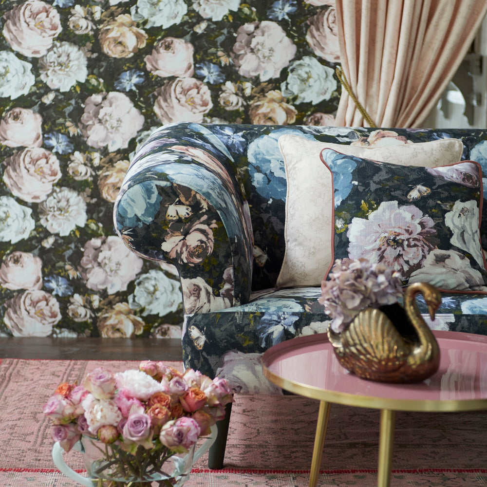 Floretta Clarke and Clarke Designer Floral Wallpaper | Antique Yellow, White & Charcoal - Your 4 Walls