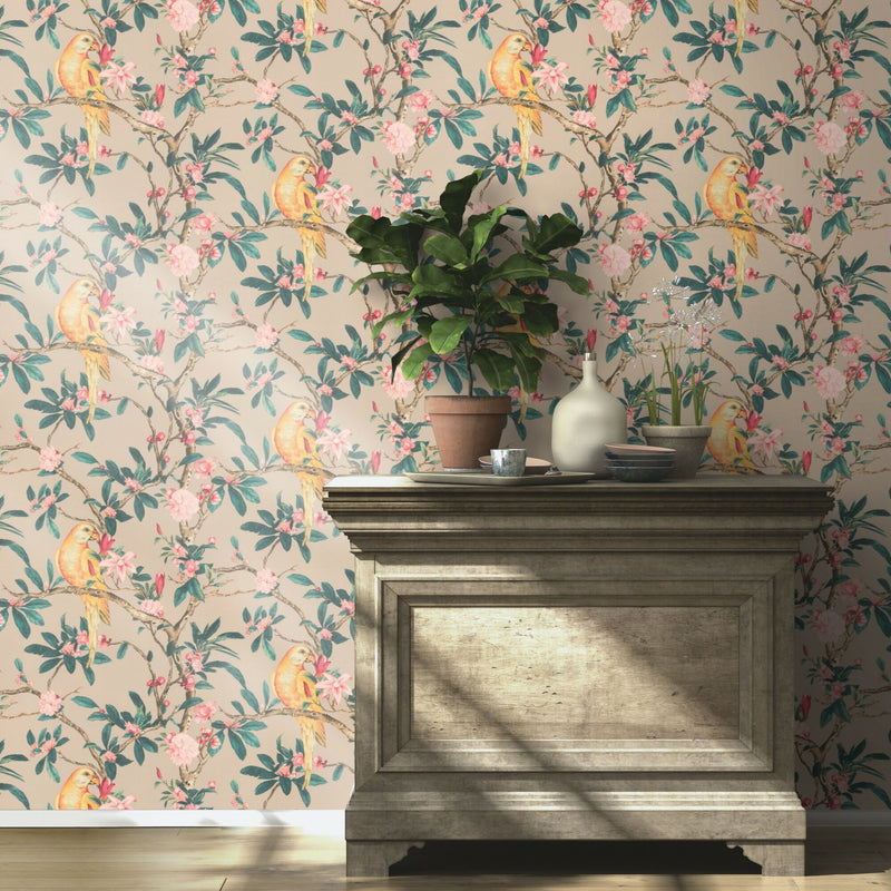 Floral Parrot Bird Wallpaper in Natural, Yellow, Pink & Green - Your 4 Walls
