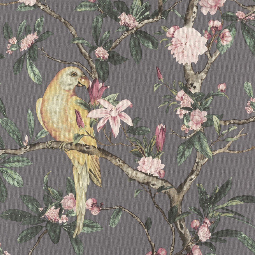 Floral Parrot Bird Wallpaper in Grey Beige - Your 4 Walls