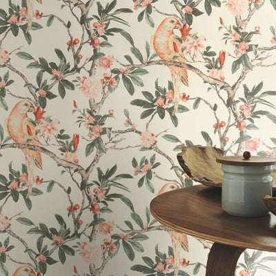 Floral Parrot Bird Wallpaper in Off White - Your 4 Walls