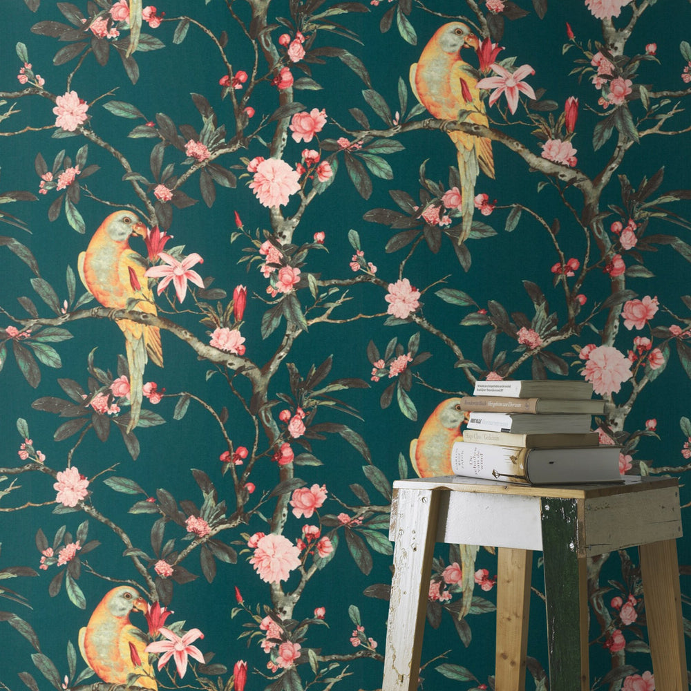 Floral Parrot Bird Wallpaper in Teal Green, Yellow and Pink - Your 4 Walls