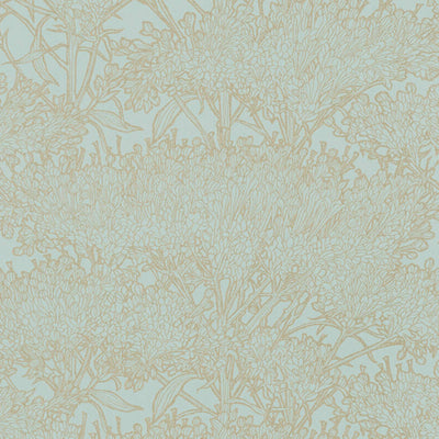 'Floral Blaze' Wallpaper in Duck Egg Blue & Silver Gold - Your 4 Walls