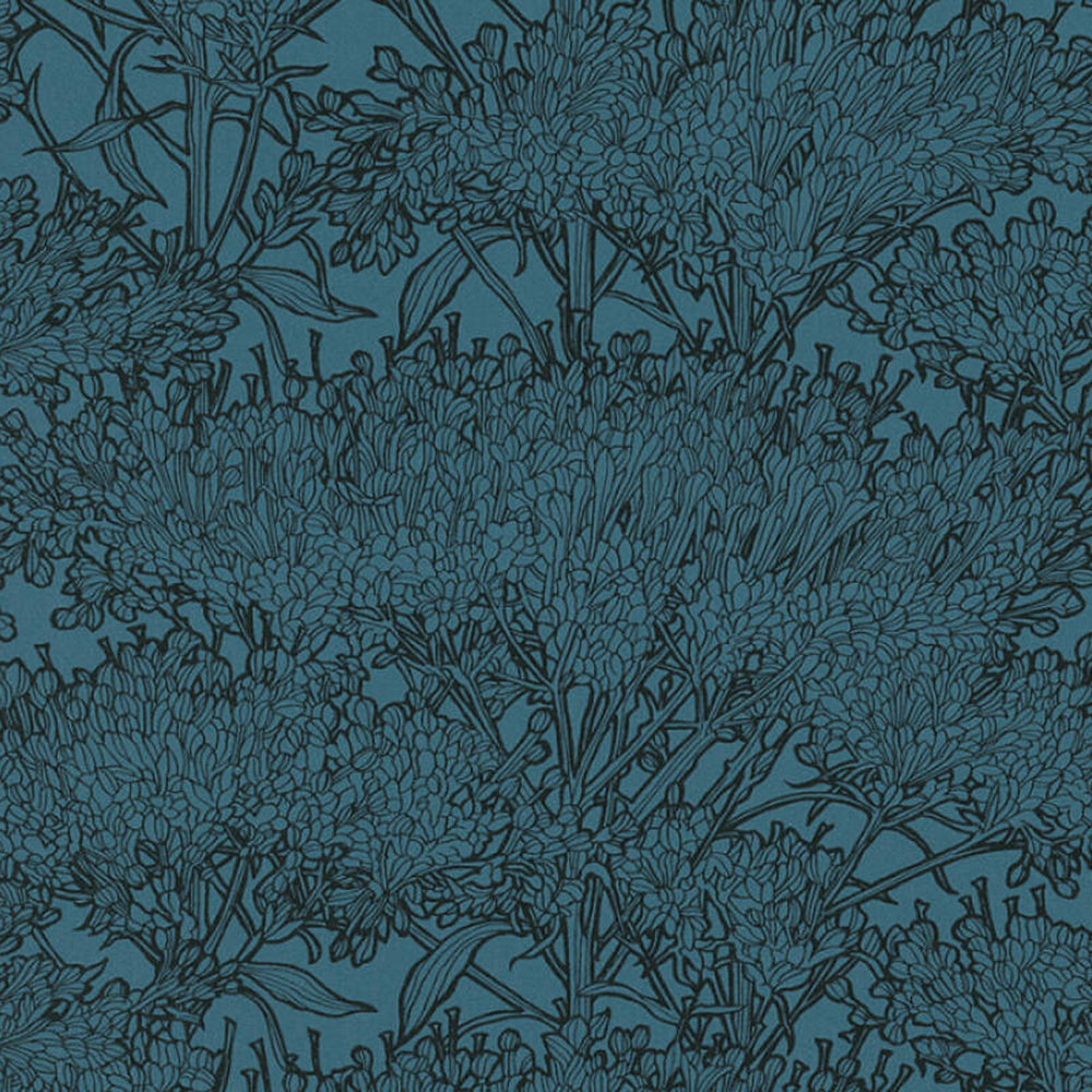 'Floral Blaze' Wallpaper in Green Blue & Black - Your 4 Walls