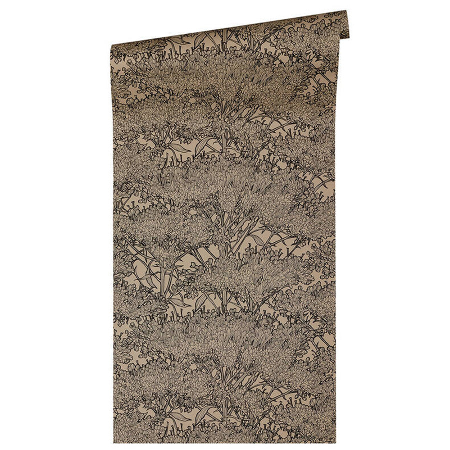 'Floral Blaze' Wallpaper in Khaki Grey Beige & Black - Your 4 Walls