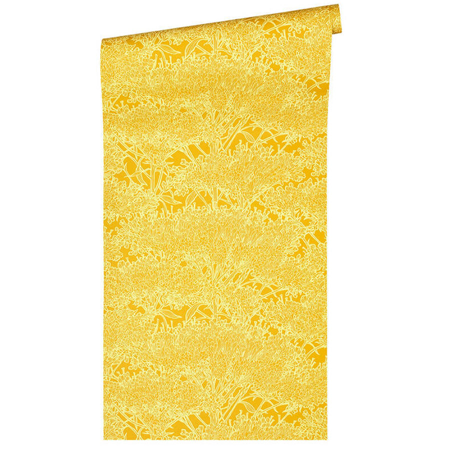 'Floral Blaze' Wallpaper in Ochre Yellow - Your 4 Walls