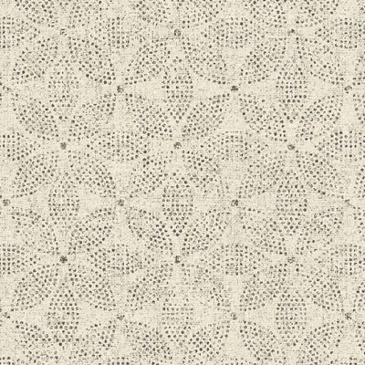 Geometric Floral Circle Leaf Wallpaper in Cream & Charcoal Black - Your 4 Walls