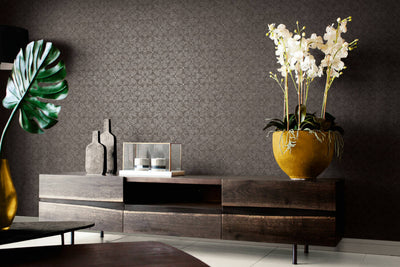 Geometric Floral Circle Leaf Wallpaper in Charcoal Black & Grey Silver - Your 4 Walls