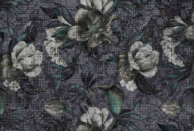 Floral Mosaic Wallpaper Mural in Grey, Green & White - Your 4 Walls
