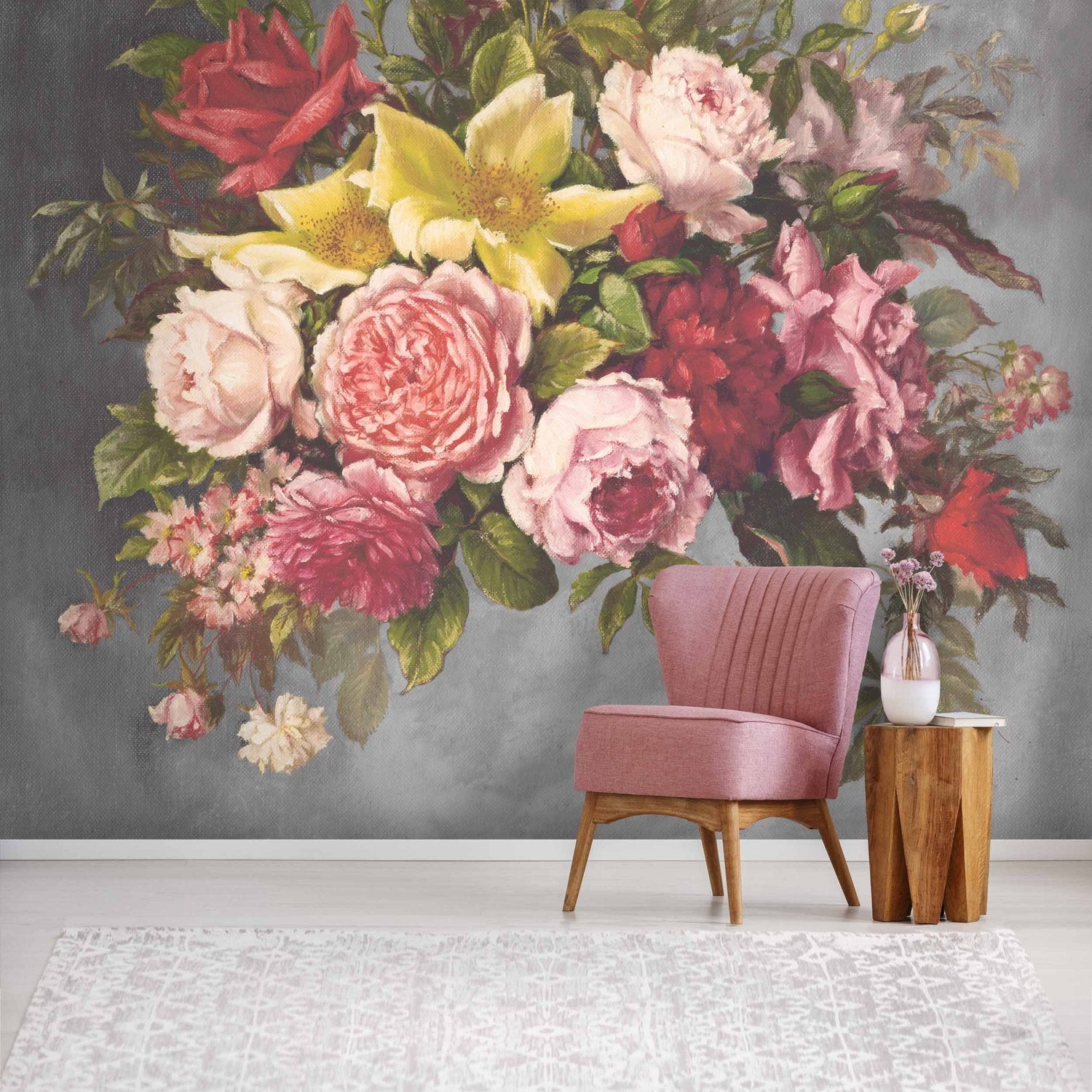 Hand Painted Look Floral Wallpaper Mural in Grey, Yellow & Pink
