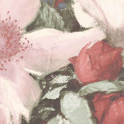 Hand Painted Look Floral Wallpaper Mural in Grey, Red & Pink - Your 4 Walls