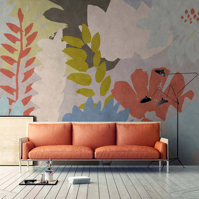 Large Painted Floral Wallpaper Mural Pink, Green and Grey - Your 4 Walls