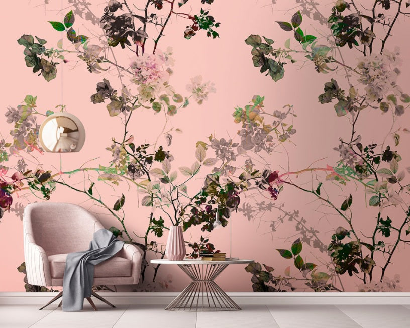 Tranquil Wallpaper Mural in Pink, White & Black - Your 4 Walls