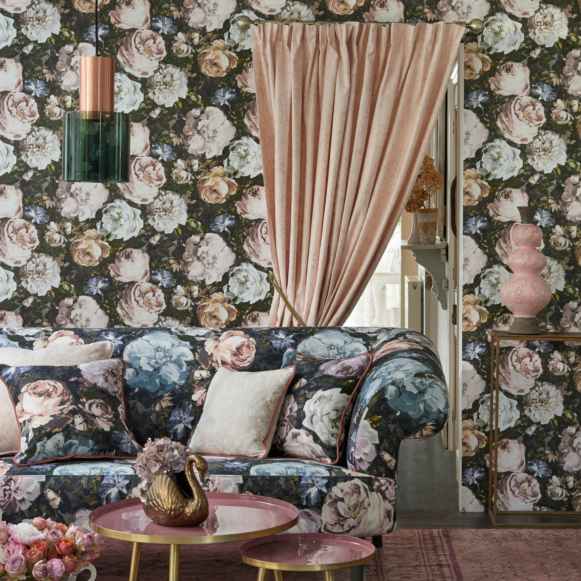 Floretta Clarke and Clarke Designer Floral Wallpaper | Heather, Pink, White & Ebony