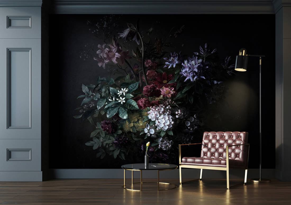 Bouquet Noir Wallpaper Mural in Black, Purple, Pink & Green