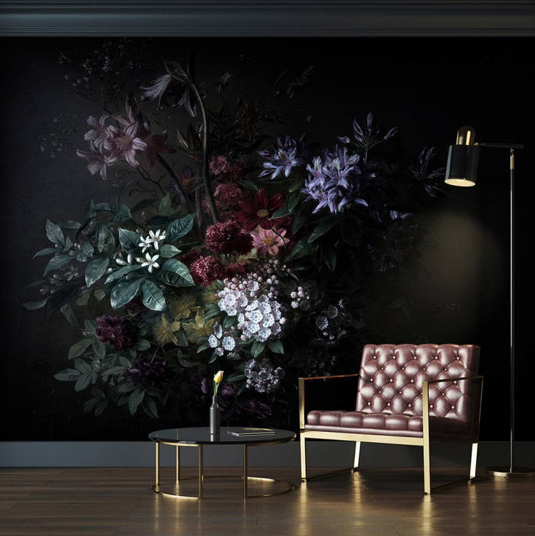 Bouquet Noir Wallpaper Mural in Black, Purple, Pink & Green - Your 4 Walls