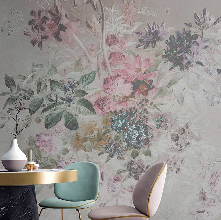 Floral Bouquet Pastel Wallpaper Mural in Beige, Pink & Green - Your 4 Walls