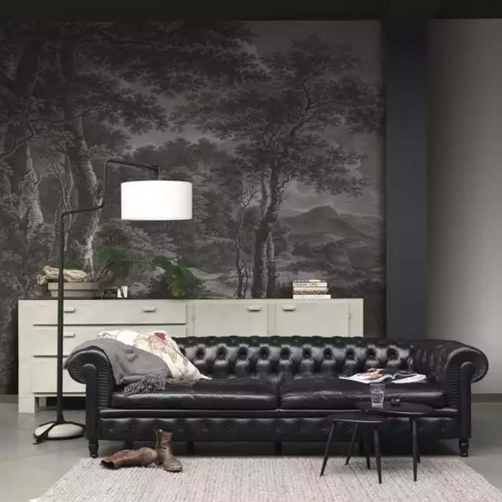 Etched Forest Wallpaper Mural in Grey & White - Your 4 Walls