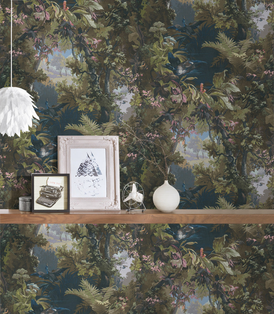 Forest of Bowland Tree and Bird Wallpaper in Green & Blue - Your 4 Walls