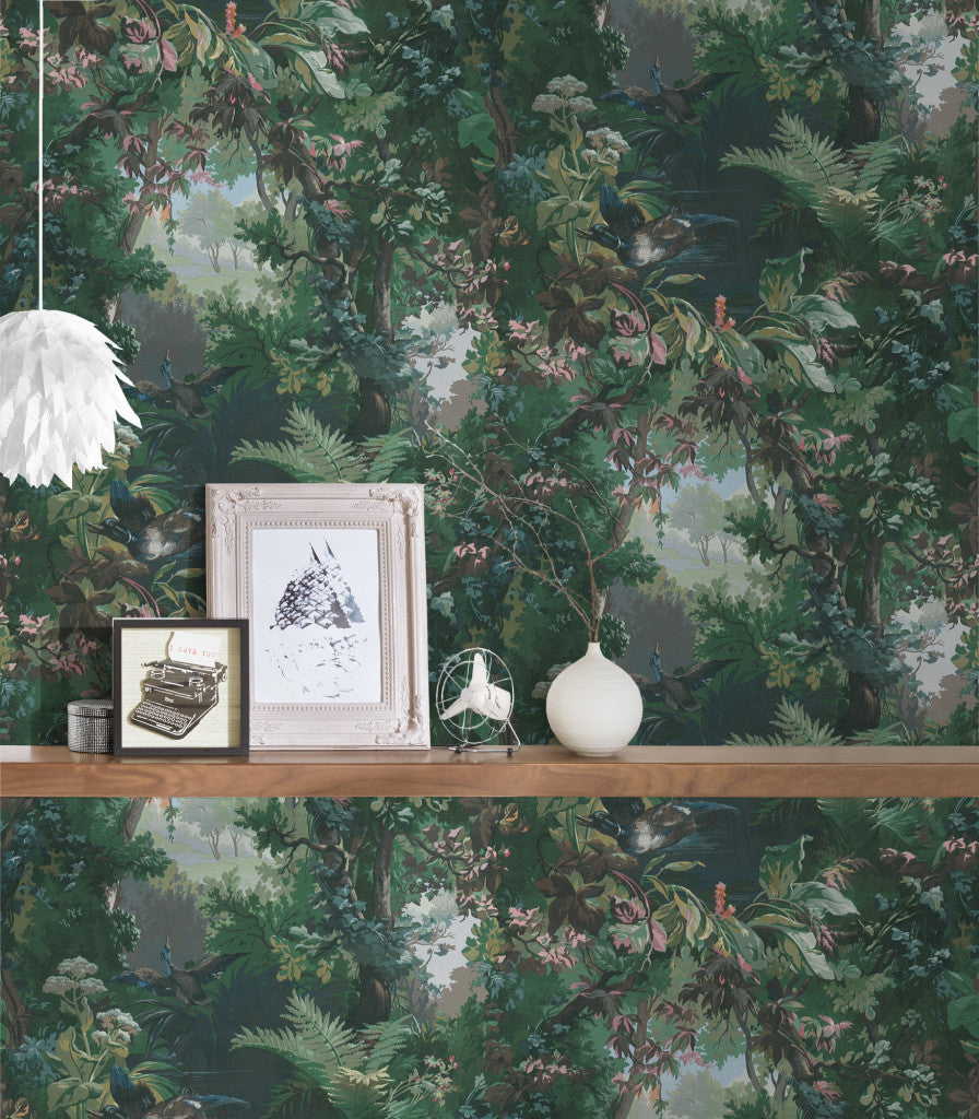 Forest of Bowland Tree and Bird Wallpaper in Green - Your 4 Walls