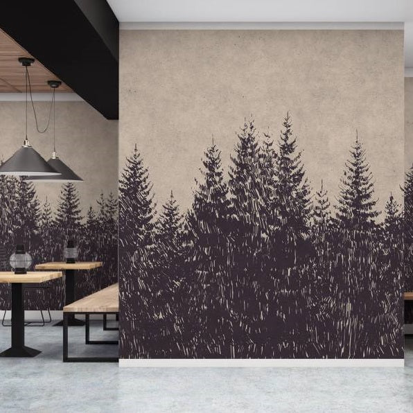 Forest Wallpaper Mural in Beige, Taupe, Black & Grey