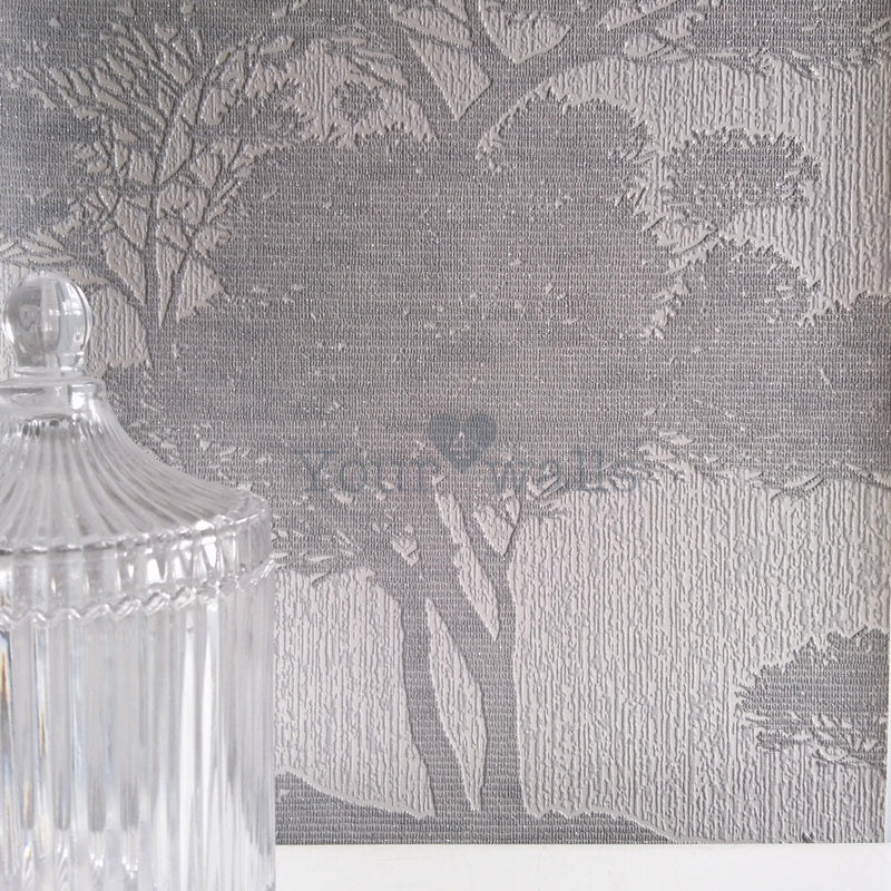 LAST 2 ROLLS FOR 1 ORDER FOREST OF BOWLAND TREE WALLPAPER | METALLIC & GREY SILVER TONES - Your 4 Walls