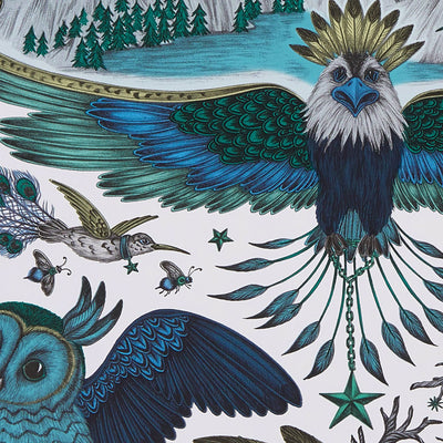 Frontier Bird wallpaper by Designer Emma J Shipley Wilderie | Blue - Your 4 Walls