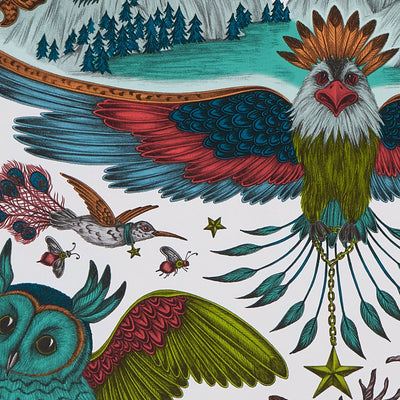 Frontier Bird wallpaper by Designer Emma J Shipley Wilderie | Green - Your 4 Walls