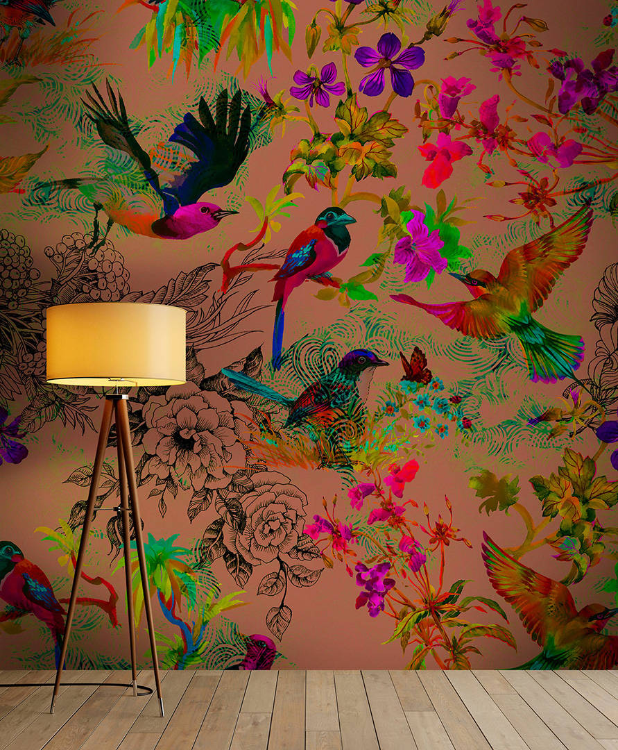 Buzzing Birds Wallpaper Mural in Gold effect, Red & Green