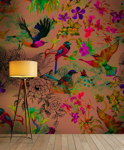Buzzing Birds Wallpaper Mural in Gold effect, Red & Green - Your 4 Walls