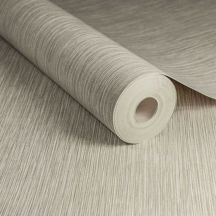 Grasscloth Effect | Metallic  & Cream Taupe Wallpaper