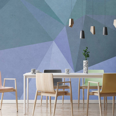 Geometric Wallpaper Mural in Blue & Green - Your 4 Walls