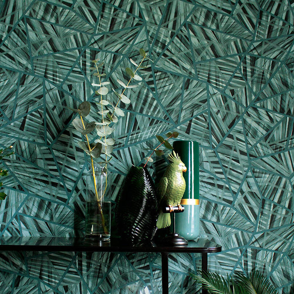 Geometric Palm Leaf Wallpaper in Green - Your 4 Walls