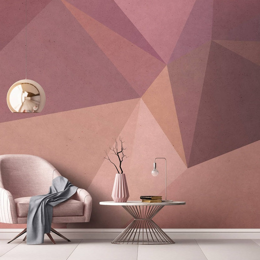 Geometric Wallpaper Mural in Orange & Red