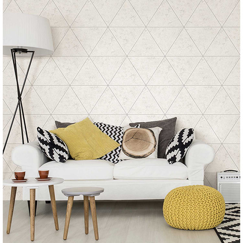 Geometric Triangular Concrete Tile | Light Grey & White - Your 4 Walls