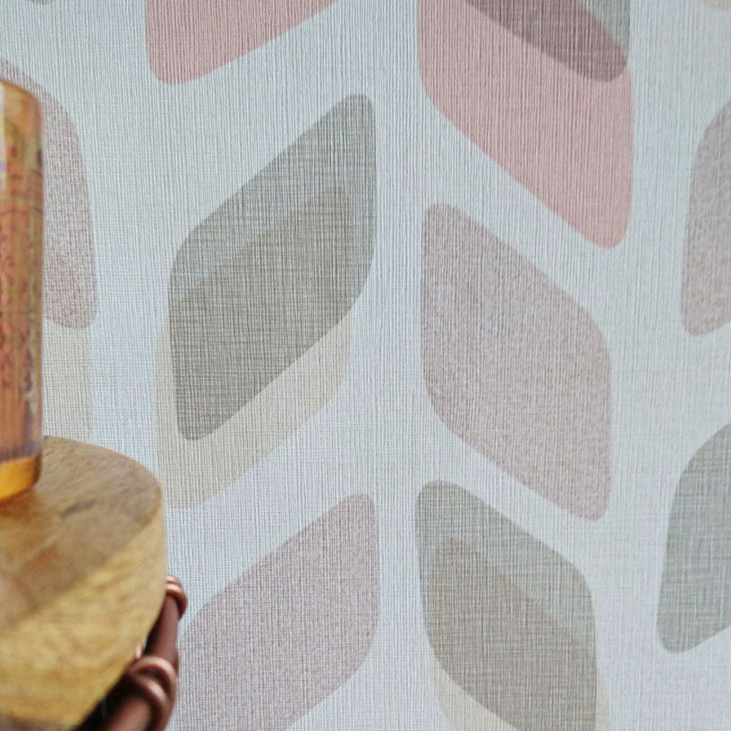 Geometric Textured Wallpaper | Pink, Charcoal, Beige & White - Your 4 Walls