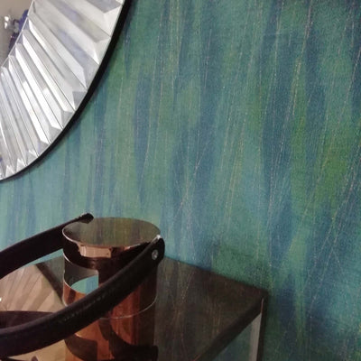 Geometric Thread Stripe Wallpaper | in Teal, Blue & Gold - Your 4 Walls