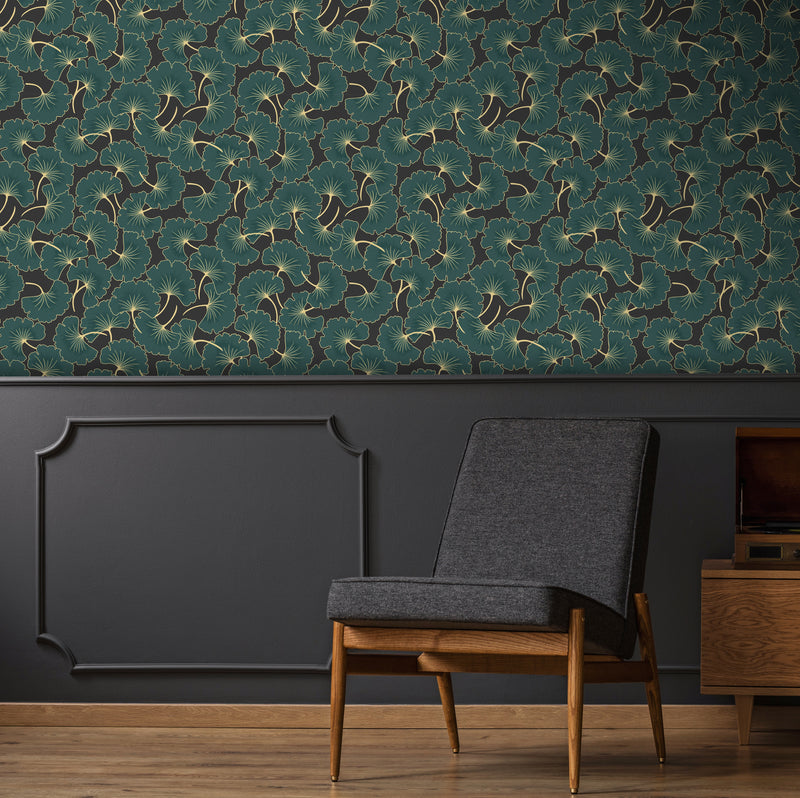 'Gingko biloba' Leaf Design Wallpaper | Black, Gold  & Dark Green - Your 4 Walls